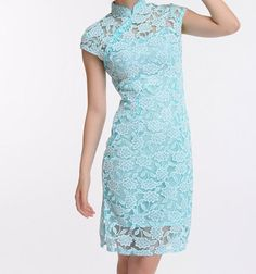 Blue Lace Embroidery Blossom Cotton Mini Dress Cheong-sam Qipao