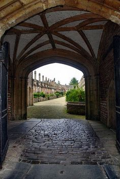 Entrance to Vicars Close built in 1360, the oldest continually inhabited street in Europe,  Wells, Somerset, UK