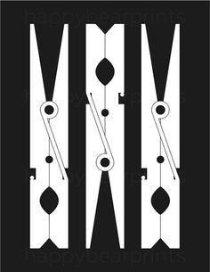 Black Clothespin Print Laundry Room Decor by happybearprints