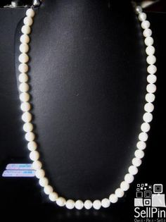 SellPin.com: Pins for Sale by Owner: White,8mm Chinese freshwater Akoya pearls. Twenty four inches long. Strung on silk cord and double knotted. $125