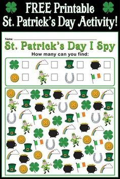 Patrick's Day I Spy – Printable St. Patrick's Day Counting Worksheet! This fun St. Patrick's Day I spy activity is great for helping students. St Patricks Day Crafts For Kids, St Patrick's Day Crafts, Kids Crafts, Saint Patricks Day Art, March Crafts, Holiday Crafts, Holiday Fun, St Patricks Day Spiele, St Patrick's Day Games