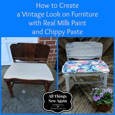 How to Create a Vintage Look on Furniture with Real Milk Paint and Chippy Paste ~ www.AllThings New Again.net