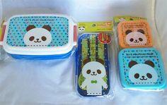Set of 3 Kawaii Panda Bento Lunch boxes folk spoon chopsticks from Japan #Daiso