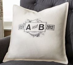 Fun wedding gift for my future hubby!  Personalized pillow cover.  A & B