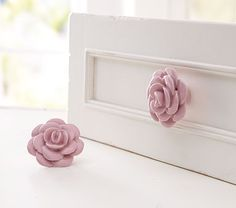 Ceramic Flower Knobs #WilliamsSonoma...for their newly painted cabinet!