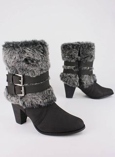 Buckled Fur Cuff Booties from GoJane