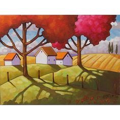 PAINTING ORIGINAL Acrylic on Canvas Folk Art Cottage Field Tree Shadow Modern Country Abstract Ready to Hang Landscape Artwork Horvath 12x16