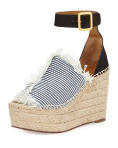 Frayed Denim Espadrille Wedge Sandal by Chloe at Bergdorf Goodman.