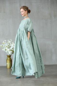 linen dress dress in aqua green maxi dress maxi linen image 2 Chifon Dress, Wedding Linens, Wedding Dresses, Womens Linen Clothing, Green Maxi, Maxi Robes, Oversized Dress, House Dress, Linen Dresses