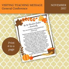 $3.50, November 2017 LDS Visiting Teaching Message General Conference