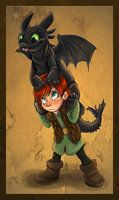 Hiccup and Toothless Chibi by sharpie91