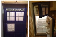 Tardis Refrigerator - I wonder how this would look w blur painters tape?