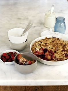 Peach, raspberry and almond crumble - Gourmet Traveller