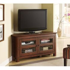 44-inch Brown Wood Corner Tv Stand
