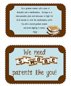 cute gift for parents/ could do a camping theme for an event like literacy night
