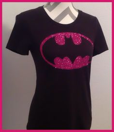 Ladies Batgirl inspired hot pink glitter shirt. Other briliant colors available by PaisleyDreamer on Etsy https://www.etsy.com/listing/250724544/ladies-batgirl-inspired-hot-pink-glitter
