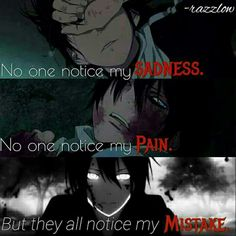 No one notices my sadness, no one notices my pain, but they all notice my mistake, sad, quote, text, Yato; Noragami