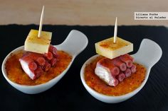Receta de pincho de pulpo y queso San Simón con calabaza asada. Con fotos paso a paso, consejos y sugerencias de degustación. Recetas de aperitivos. Pinchos