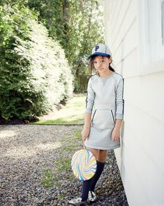SEP '14 Style Guide: J.Crew girls' sparkle sweatshirt dress, grosgrain bow socks, and mirror metallic penny loafers.