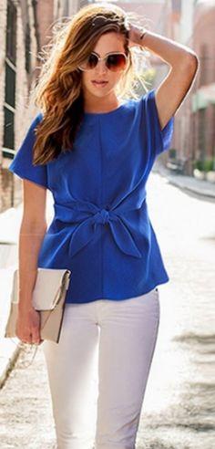 Blue Short Sleeve Tie Front Blouse - Choies.com