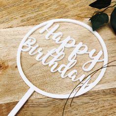 Happy Birthday Cake Topper Birthday Cake Topper Cake Decoration Cake Decorating Happy Birthday Cursive Topper CIRCSPMCG Sugar Boo SugarBoo