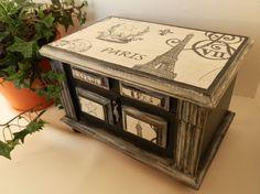 Jewelry Box Upcycled Wooden Paris Eiffel by TreasuresbyMarylou, $40.00