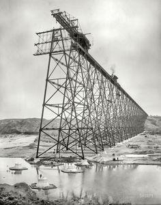 Lethbridge, Alberta, circa 1908. Erecting Lethbridge Viaduct over the Oldman River.