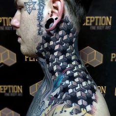 Mens Blocks Optical Illusion Neck And Shoulder Tattoo Design