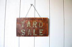 Wood Yard Sale Sign // Handmade by genrestoration on Etsy, $28.00