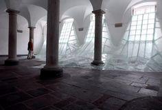 """Baptiste Debombourg, """"Aérial"""", Feuilleté glass, wood, nails, white painting, 3x12x4.5 m, 2012"""