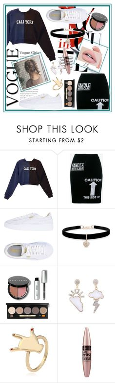 """""""Outfit of the day"""" by glamo111 ❤ liked on Polyvore featuring Cynthia Rowley, Moschino, Puma, Betsey Johnson, Bobbi Brown Cosmetics and Maybelline"""