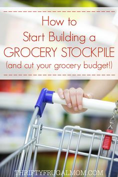 Want to save money on your grocery bill? Having a grocery stockpile is one of the main things that allows us to live on a $200/mo. grocery budget. Want to get started building your own stockpile? Learn how here! #thriftyliving