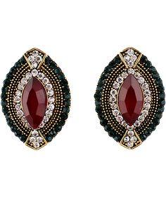 Red Blue Gemstone Gold Oval Earrings - Sheinside.com