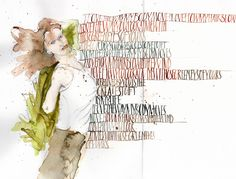 Watercolour and pointed pen on paper  Written by Cecile Walters  see also at www.letterdance.co.za