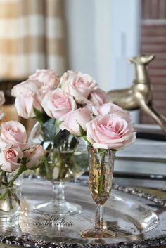 vintage glass wine shot roses flowers vase silver platter
