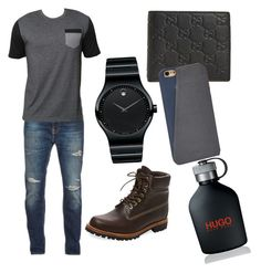 """my brother's outfit"" by johannadre ❤ liked on Polyvore featuring Nudie Jeans Co., Billabong, Timberland, Movado, Gucci, FOSSIL, HUGO, men's fashion and menswear"