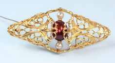 Faux Pearl Brooch  Filigree Napier Book Piece by PastSplendors