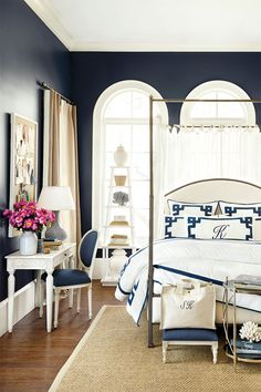Bedroom designed by Suzanne Kasler for her Summer 2014 collection