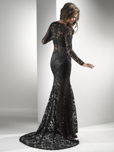 Black Illusion Lace Long Sleeve Prom Dress - Unique Vintage - Cocktail, Pinup, Holiday - I want a reason to wear this!