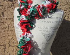 Christmas Holiday Handmade Ruffle Yarn Ruffled Spiral Necklace Scarf in colors of Green Red White