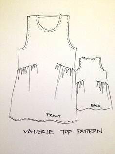 (My notes: Regular tank pattern, only after top dart, cut much wider then gather to fit.  Expand side seams so that if fits very loose. Will look great with a tiered skirt.)  Valerie Top Pattern - Print At Home or Copy Shop (PDF) - Sewing Patterns - Tessuti Fabrics - Online Fabric Store - Cotton, Linen, Silk, Brid...