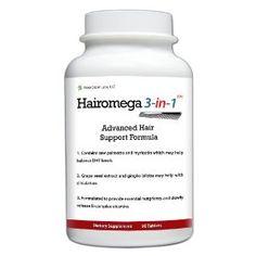 Hairomega 3-in-1 Dht-blocking, Nutrient Providing, Circulation Improving Hair Loss Supplement, (hair regrowth treatments, hair care, hair growth, dht blocker, minoxidil, nioxin, procerin, rogaine)