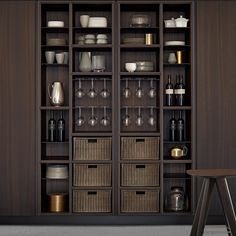 Your Guide to kitchen pantry cabinet ontario exclusive on Kitchen Pantry Cabinets, Wine Cabinets, Bar Sala, Crockery Cabinet, Pantry Shelving, Pantry Storage, Open Shelves, Storage Spaces, Café Bar