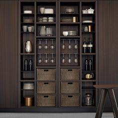 Your Guide to kitchen pantry cabinet ontario exclusive on Kitchen Pantry Cabinets, Wine Cabinets, Bar Sala, Küchen Design, Interior Design, Crockery Cabinet, Pantry Shelving, Pantry Storage, Open Shelves