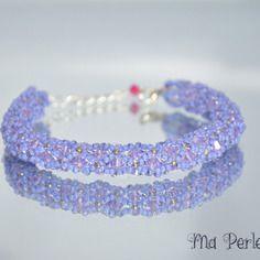 """Bracelet cristal swarovski violet """"personnalisable"""""""