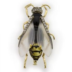 AN ENAMEL AND DIAMOND WASP BROOCH - Bentley & Skinner