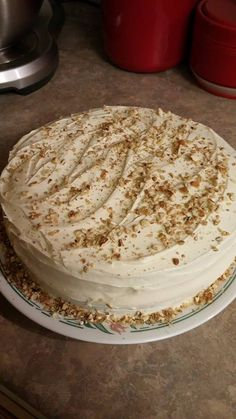 Pecan Banana Italian Cream Cake  2 c flour 1 c sugar 1 tsp salt 4 very ripe bananas 1/3 c oil 1/2 c pecans for inside of cake. 1/4 c for top of cake to garnish. 3 eggs Mix eggs oil bananas and nuts then slowly add dry ingredients  Preheat over on 350°  Butter And flour pans then add batter cook for about 35 mins until toothpick is clean While cooling make icing using Cream cheese I pk 8 oz 1 can of sweetened condensed milk 2 tsp vanilla extract   1/2 tsp lemon juice Mix till whipped well