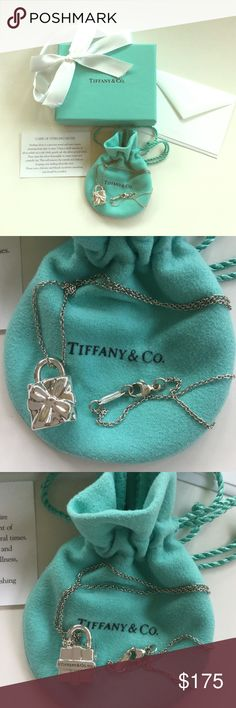 """Tiffany & Co. Sterling Tiffany Box Charm & Chain💕 Brand new in perfect condition. Never worn. Tiffany & Co. Tiffany box sterling silver charm and 16"""" sterling silver chain. Includes felt dust bag, box, ribbon, care card and blank note card. A classic and timeless piece.  💕 Tiffany & Co. Jewelry Necklaces"""