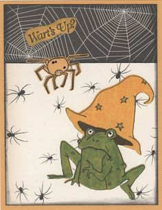 """Texana Designs sample by DTM Janet Bradshaw using our Texana Designs Frog and Hat and Spider mini (artwork by Jillian O'Diorne) and Wart's Up?"""" stamps."""
