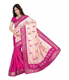 STYLOCE PINK COLOR AND ART SILK FABRIC WITH FLORAL PRINTED  WORK SAREE . STY-8755 - Styloce Sarees for indian woman
